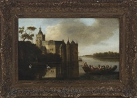 landscape of the castle montfoort in utrecht with figures in the foreground on a boat by anthony jansz van der croos