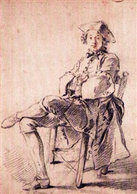 study of a young gentleman seated in a chair by jacques-andré portail