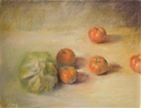 still life with cabbage and tomatoes by jacob carmely