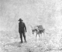 man and burro in desert by percy v.e. ivory