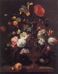 flowers in a vase with a butterfly by herman verelst