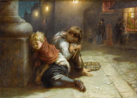 fatigued minstrels by augustus edwin mulready
