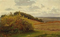 moor landscape with a flowering bush by hans ludvig smidth