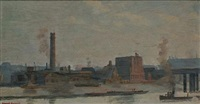 the south bank showing the shot tower and hungerford bridge (+ 2 others; 3 works) by derick rogers