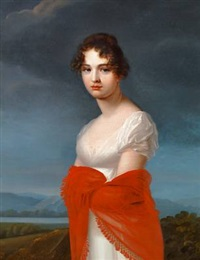 portrait of princess ekaterina vasilyevna saltykova in a white dress and red shawl by jean-francois asselin