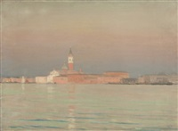 view of venice and the venetian lagoon at sunset by hermann dudley murphy