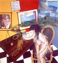 figure getting out a chair in front of studio window by peter nadin