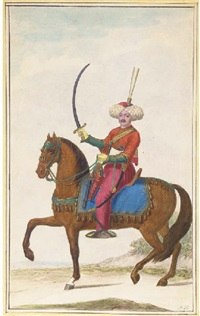 a turkish horseman carrying a sabre riding to the left by nicolaus hoffmann