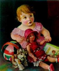 mädchen mit puppe und spielzeug by fritz rocca-humpoletz