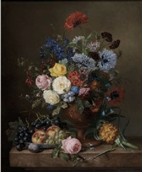 roses, poppies, peonies, delphinium, fuchsia and other flowers in a vase with fruits on a marble ledge by adriana van ravenswaay