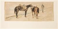 soldato di artiglieria e due cavalli by giovanni fattori