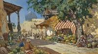 orientalischer gemüsemarkt mit wassermelonenverkäufer by sergej anikin