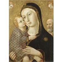 madonna col bambino, san giuseppe e due angeli by sano di pietro