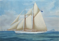 a racing yacht (+ another; 2 works) by a. de simone