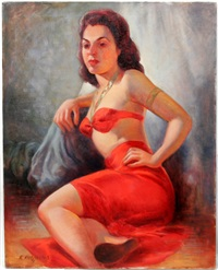 woman in red two piece sarong by robert rukavina
