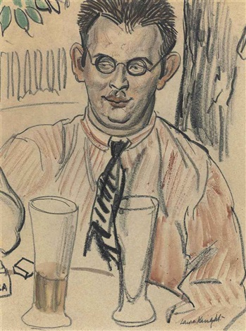 study of a man seated at a table by dame laura knight