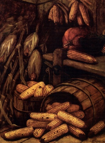 still life with corn and pumpkins by alfred montgomery