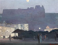moonlit town scene with figures by adrian paul allinson
