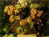 a still life of grapes in a basket by aniello ascione