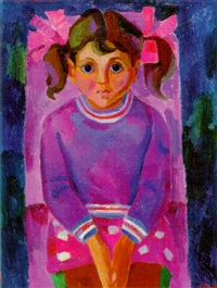 portrait of a young girl in purple by lidia khanamiryan