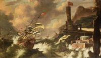 english shipping foundering in stormy seas off a rocky coastline by jacob knyff