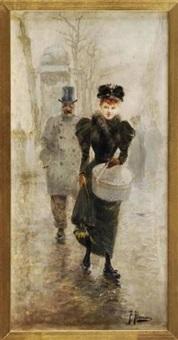 elégante au chapeau dans une rue parisienne by felix alarcon