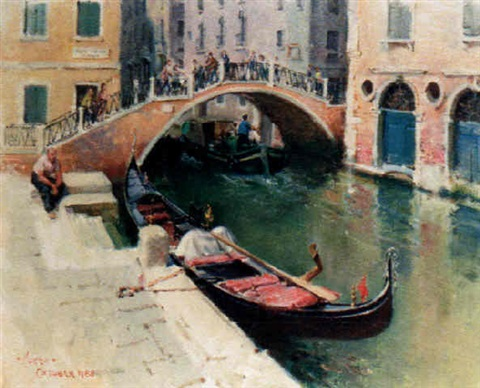 moored gondola venice by terence cuneo
