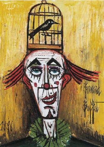 Les clowns de Bernard Buffet Bernard-buffet-clown-%C3%A0-la-cage-%C3%A0-oiseau