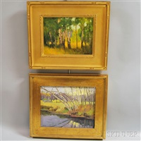 birches in a meadow and birches by a stream (2 works) by steven allrich