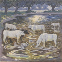 cattle watering in the shallows by norman lloyd