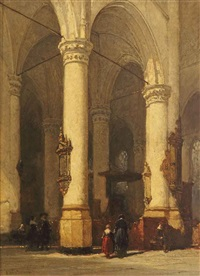 the interior of the hooglandsche kerk, leiden by johannes bosboom
