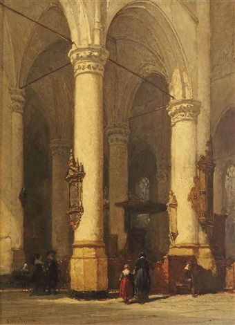 the interior of the hooglandsche kerk leiden by johannes bosboom