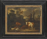 a wooded landscape with grazing cattle, sheep and a horse by adriaen van de velde