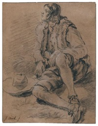 a young man seated on the ground, his hat beside him (study) by jan miel