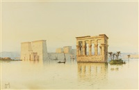 philae and the gate of ptolemy iii at karnak (2 works) by spyridon scarvelli