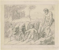 cain ploughing and cain with a hoe (a pair) by johann georg rau