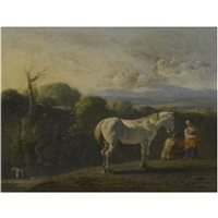a landscape with a white horse and travellers, a river beyond, possibly tobias and the angel by bartholomeus engels