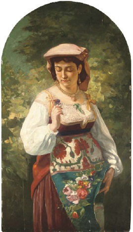 an italian beauty holding a flower by aleksandr davidovitch drevin