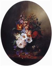 nid et fleurs sur un entablement by ange louis guillaume lesourd-beauregard