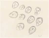 untitled drawing (ten faces) by john kavik