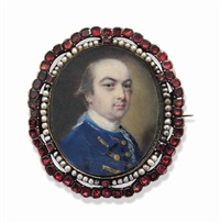 lord manners, in blue coat with gold facings and buttons, lace cravat, white stock by john smart