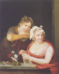 portrait of two toung women by a windowsill by jeanne bernard dabos