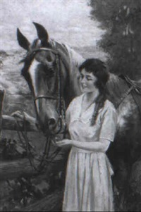 girl feeding horse by charles m. relyea