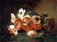 anemones in a glass pitcher by anna eliza hardy