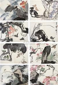 flower and bird (album w/12 works) by xu yuanshao