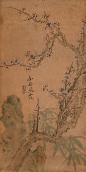 les trois amis de l'hiver (le bambou, le prunus et le pin) (set of 3) by xu bishan