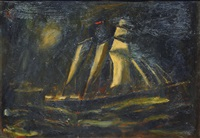 sail boat at night by alfred kollmar