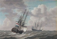 dutch men-o-war under sail in a moderate wind by engel hoogerheyden
