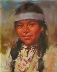 indian girl blue headband by harley brown