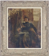 seated woman in a studio looking at drawings by julian russel story